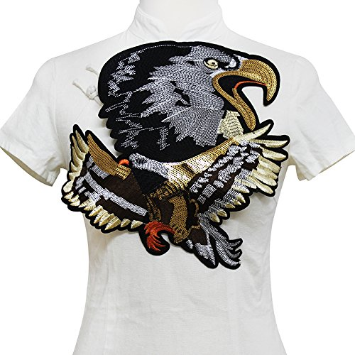 1pieces Large Eagle Gold Sequin Applique Embroidery Applique Sew on Patches Fabric Motif