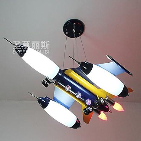 Fsd Lámpara de techo de dibujos animados para niños Aviones azul candelabros, sala infantil dormitorio luces, las luces de la habitación, los ...