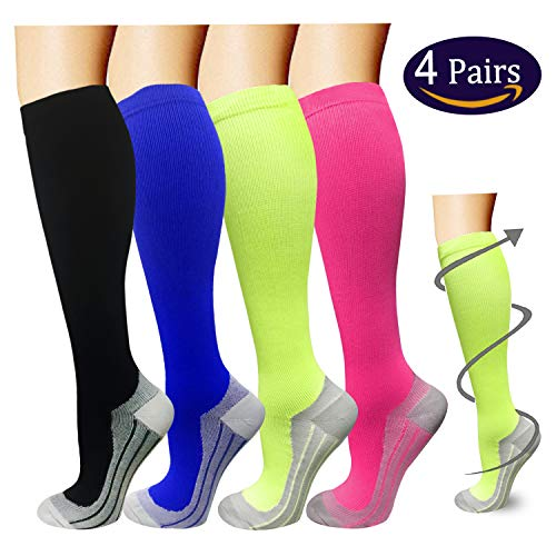 Compression Socks For Men & Women - 4 Pairs - BEST Graduated Athletic Fit for Running, Flight Travel, Pregnancy - 15-20mmHg by ISEASOO