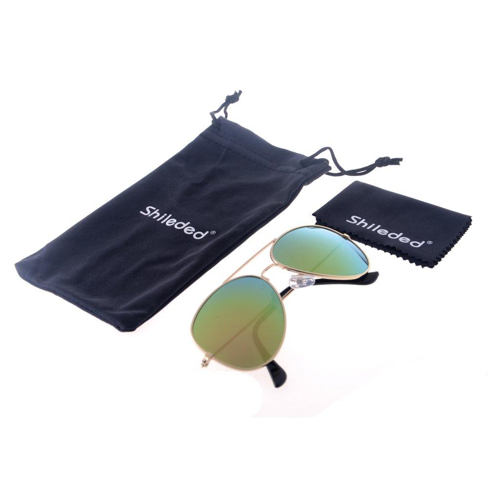 Shileded Kids Baby Sunglasses Aviator Sunglasses, Metal Frame Reflective Lenses for Childrens/Boys/Girls 3-15 Age(Pink)