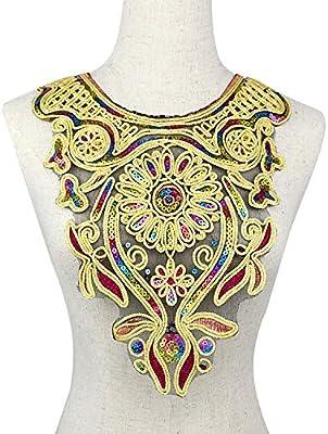 Sequin Lace Floral Neckline Collar Embroidered Sewing Applique Trim Decoration