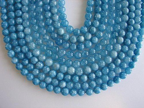Natural Aquamarine Beads Strand, Round Beads, Natural Mineral Aquamarine Gemstone for Jewelry Making by BEEZZY BEEDZ (10mm, Aquamarine Blue)