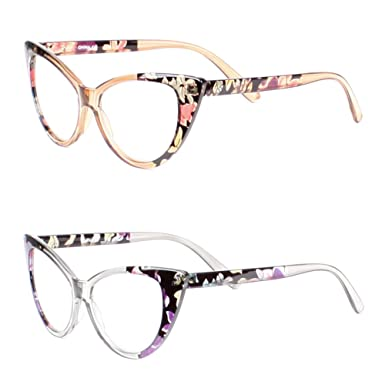 b32df88880 Amazon.com  LL Womens 2 Pack Cat Eye Reading Glasses Clear Flower Vintage  Retro (Assorted - 2 Pairs