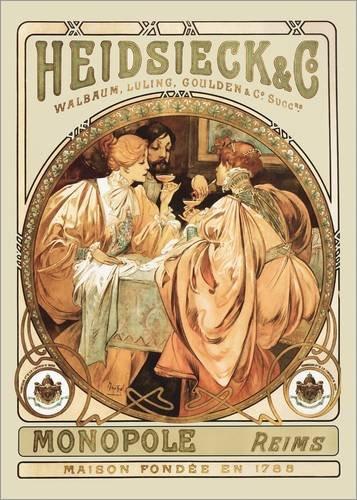 Posterlounge Alubild 90 x 130 cm: Heidsieck Champagner von Alfons Mucha