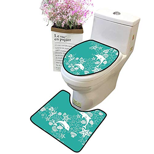 Bathroom Contour Rugs Combo, Animals Dolphins and Flowers Sea Floral Pattern Starfish Coral Seashell Wallpaper Pa Microfiber Toilet Rug Toilet lid ()
