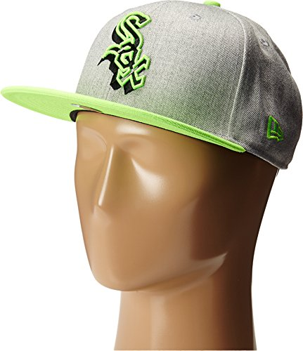 New Era Men's Neon Logo Redux Chicago White Sox Heather Gray/Green Bright Green Hat MD/LG - Chicago White Sox Heather