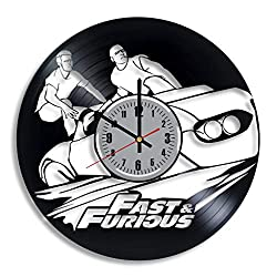 Fast & Furious Vinyl Clock - Vin Diesel Paul Walker Wall Art Handmade Home Room Decor Made of Vinyl Record - Best Original Vintage Gift for Any Occasion