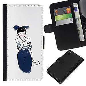 All Phone Most Case / Oferta Especial Cáscara Funda de cuero Monedero Cubierta de proteccion Caso / Wallet Case for Sony Xperia Z3 D6603 // Japanese Girl Drawing Sketch Fashion Blue Bowtie