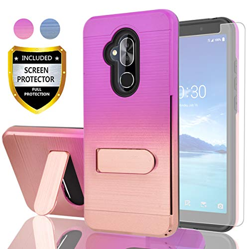 AYMECL Alcatel 7 Phone Case,Alcatel 7 Folio/T-Mobile Revvl 2 Plus Case with HD Screen Protector,[Card Slots Holder] Plastic TPU Hybrid Gradient Color Shockproof Case for Alcatel 7-GC Purple&Rose Gold