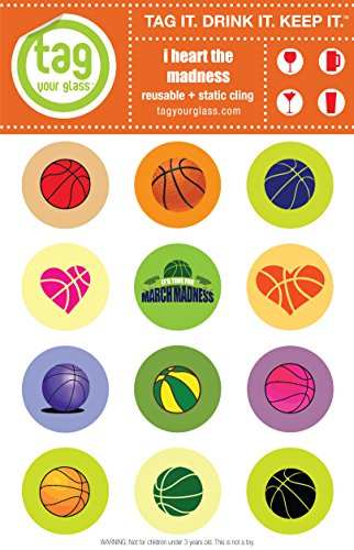 - Basketball Madness - Champagne, Beer & Wine Glass Charms that use static cling. Unique, reusable, attractive drink markers that serve a purpose. Trendy party gift for women & men who have everything