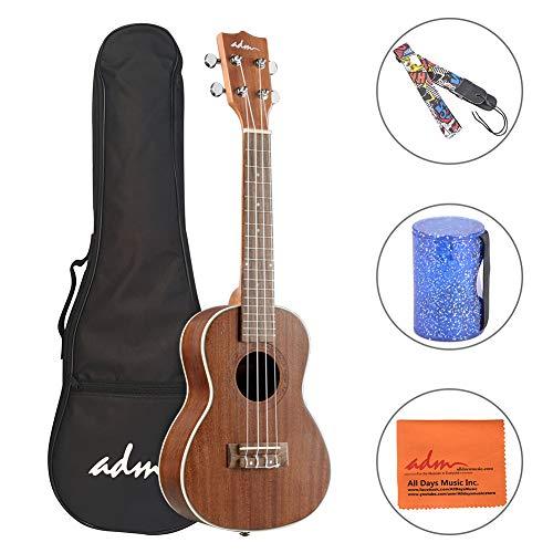 ADM Concert Ukulele 23 Inch Adult Beginner Uke Kit, Small Guitar Bundle with Gig Bag, Finger Sand Hammer Bell and Strap]()