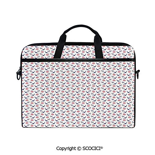 Durable Waterproof Printed Laptop Shoulderr Bag Sea Inspired Pattern with Classical Icons Sailing Theme Steering Wheel Decorative Computer Briefcases for 15 inch