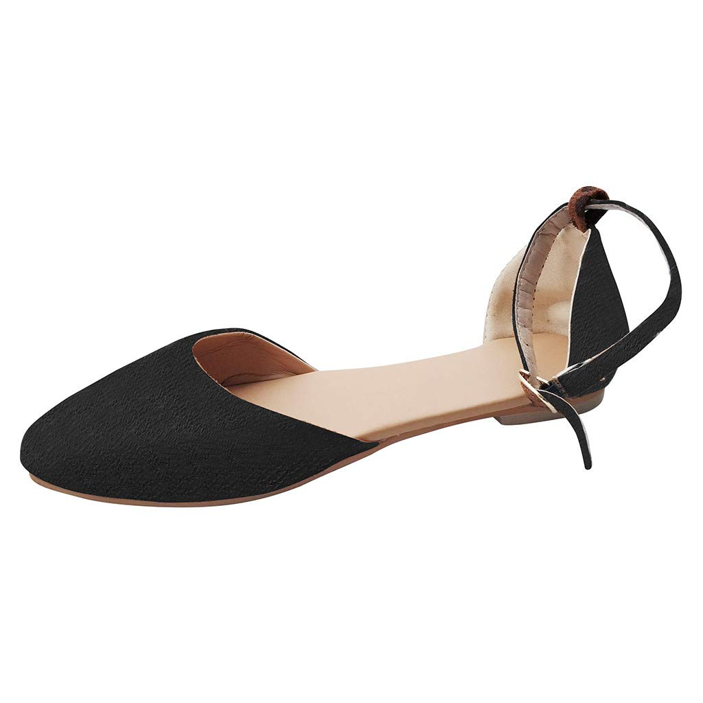WugeshangmaoShoes for Women Pointed Toe,Buckle Strap Sandals for Women,Teen Girls' Platform Flat Heel Casual Sandals Black