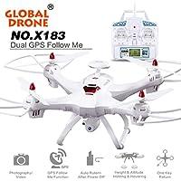 Fullfun Global Drone X183 with GPS Quadcopter (2MP WiFi FPV HD Camera) (White)