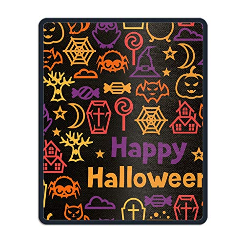 Happy Halloween Mousepad - Natural Rubber Mouse Pad Printed with Stitched Edges -