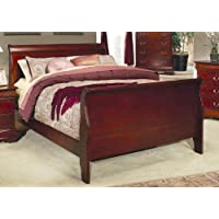 LOUIS PHILIP KING SIZE BED - CHERRY FINISH