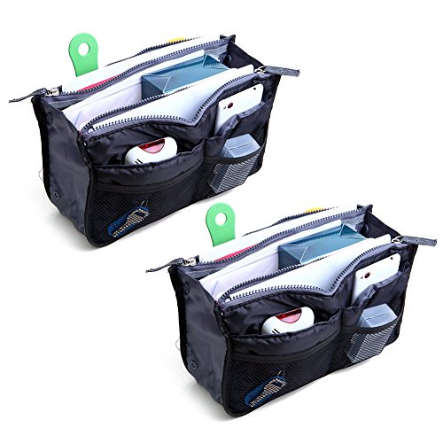 2 Pack Magik Travel Insert Handbag Purse Large Liner Organizer Tidy Bags Expandable 13 Pocket Handbag Insert Purse Organizer with Handles (.Black.) Handbag Organizer Insert
