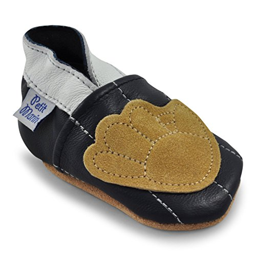 Petit Marin Beautiful Soft Leather Baby Shoes with Suede Soles - Toddler / Infant Shoes - Crib Shoes - Baby First Walking Shoes - Pre-walker Shoes - Baseball - 0-6 - Boys Pre Walker