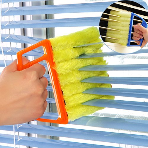 Slendima 5.31'' x 6.3'' Useful Microfibre Venetian Blind Clean Brush Window Conditioner Duster Shutter Cleaner Orange 13.5cm x 16cm