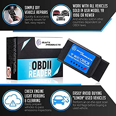 Bafx Products Wireless WiFi OBD2 / OBDII Code Reader & Scanner for iOS Devices (iPhone, iPad) Read & Clear Your Check Engine Light & More!: Automotive
