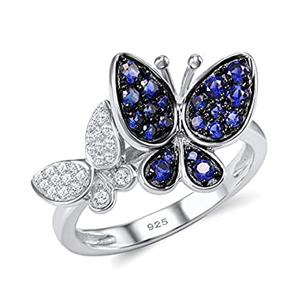 Santuzza 925 Sterling Silver Blue Butterfly Ring Shiny Blue Nano Cubic Zirconia White Cubic Zirconia...