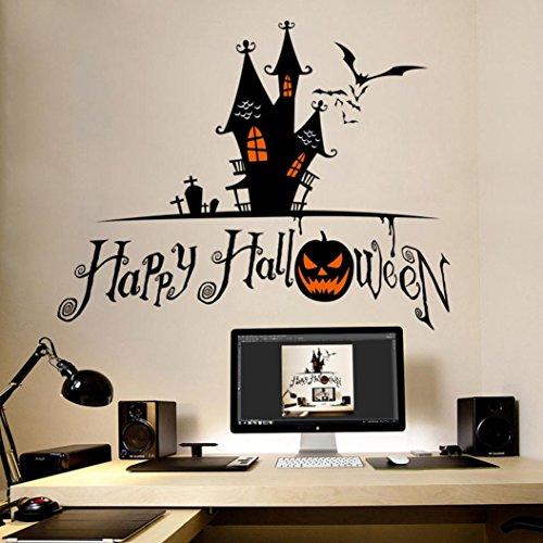 Hongxin Happy Halloween Pumpkins Wall Decals Window Stickers Halloween Decorations For Home Kids Bedding Room Decor Or Creative Gifts,58 X 42cm