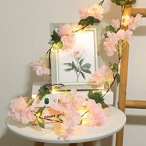 I3C Cadena de Luz con Motivo Floral, Ratán Verde, Alambre de Cobre, Hada, Cadena de Luz LED, para Decoración de Boda…