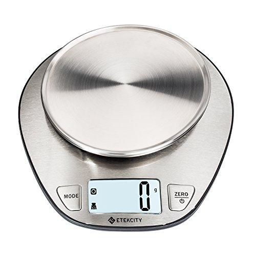 Etekcity 5KG Digitale Küchenwaage, Hohe Präzision auf bis zu 1g (5kg Maximalgewicht), Tara-Funktion, aus Edelstahl mit Großem LCD-Display