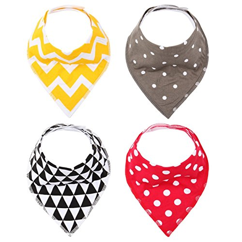 Baby Bandana Drool Bibs by Adowa -Set of 4 Absorbent Baby Shower drooling & Teething bibs Gift Set for Babies