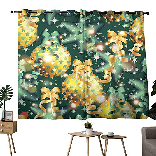Sliding Curtains New Year Pattern with Ball Christmas Wallpaper Noise Reducing 63
