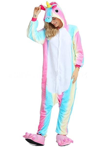 OKSakady Deguisement Combinaison Pijama Licorne Pyjama Adulte Enfant  Unisexe Animaux Cosplay Costume Kigurumi Halloween Noel Party 48e2c5efbacb