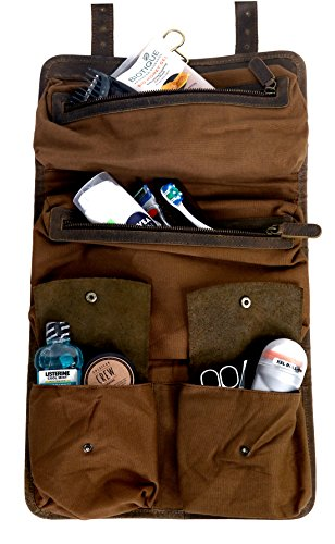 KOMALC Genuine Buffalo Leather Hanging Toiletry Bag Travel Dopp Kit