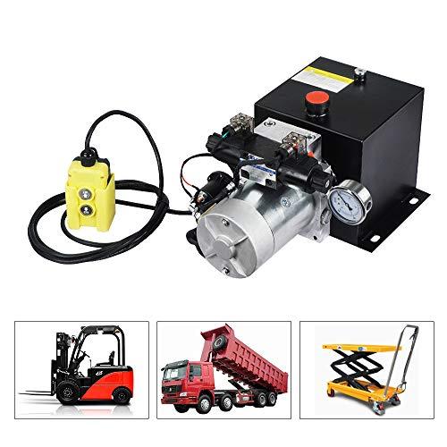 ECO LLC 8 Quart Double Acting 12V Hydraulic Power Unit 3200 PSI Max. Hydraulic Pump DC 12V Dump Trailer with Hydraulic Pressure Gauge