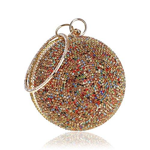 Bolso cruzado del bolso del embrague del bolso de embrague del bolso de noche del diamante de la bola redonda de las mujeres (Color : Multicolor 2) Multicolor 2