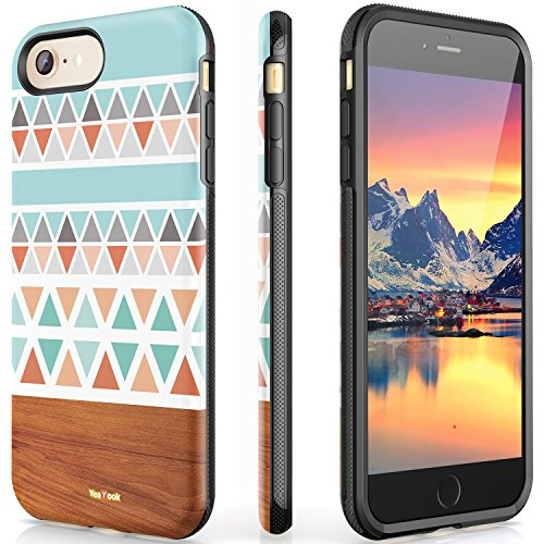 iPhone 6S Cover 6 Case Drop Protection Slim Dual Layer Art Work Printed Silicone Rubber Hybrid Durable Shockproof Bumper Protective Anti-Scratch Impact Resistant Cover Matte Black (Colorful (Protective Silicone)