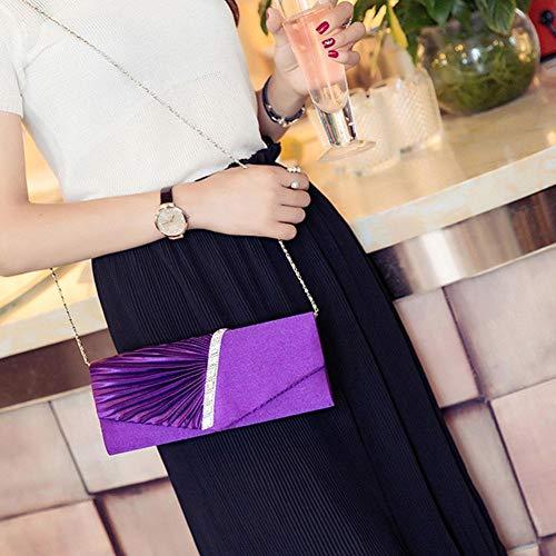 Clutch Bag Purple Prom Satin for Wedding Rhinestone Party Evening Shiny Women's Handbag Twill Envelope 5EqOwO