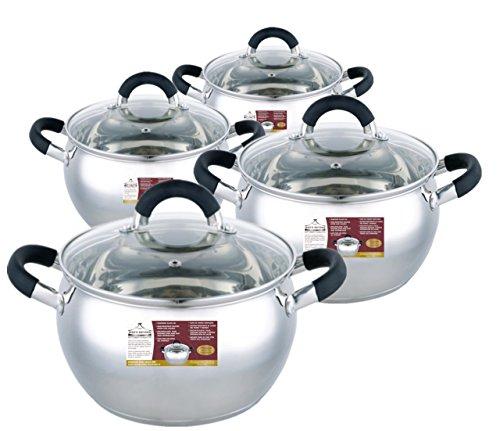 Wee's Beyond Stainless Steel Sauce Pot Set - Apple Shape, 1.8 Qt, 2.5 Qt, 3.4 Qt & 5.4 Qt, Silver