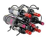 PAG 7 Bottles Metal Wine Racks Countertop/Tabletop Wine Storage Holders Stands,Black