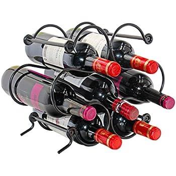 PAG 6 Bottles Free Standing Countertop Metal Wine Rack Tabletop Wine Storage Hol