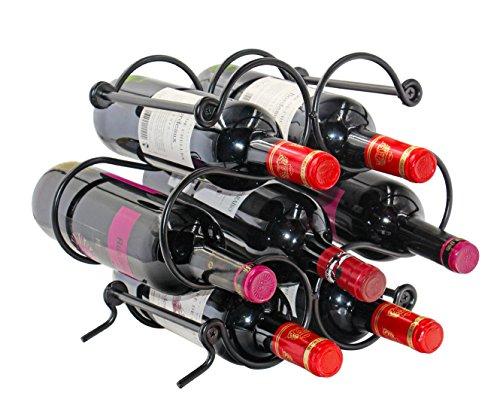 PAG 7 Bottles Metal Wine Racks Countertop/Tabletop Wine Storage Holder Stand, Black by PAG