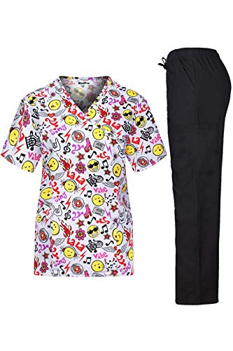 MEDPRO Women's Printed Medical Scrub Set V-Neck Top and Pants Red Yellow L
