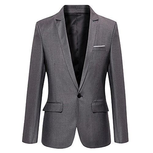 DAVID.ANN Men's Slim Fit One Button Casual Blazer Jacket,Grey,Small