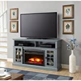 """Better Homes and Gardens Mission Media Fireplace for TVs up to 65"""", Heats up to 400 sq ft (Antique Blue)"""