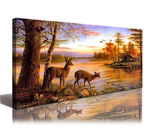 Framed Wall Art Whitetail Deer In Dusk Landscape Picture Print On Canvas - Modern Painting Canvas Art Animal Picture Wall Art For Home Decor Decoration Gift piece(Size:40