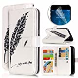 iPhone 5 5S Case, Luxury Dual Wallet Case [9 Card Holder] Premium PU Leather Multifunctional Embossing Pattern Book Style Magnetic Flip Stand Feature Cover Slim Protective Money Pocket Bumper - Black Feather