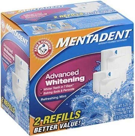 Mentadent Fluoride Toothpaste Advanced Whitening Refreshing Mint , 2 Refills Each 5.25 Oz (Pack of 2) 21 Oz Total ()