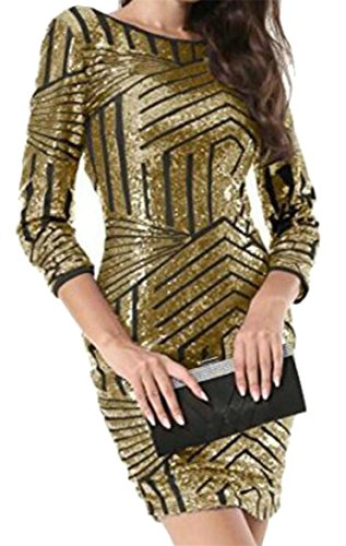 Bodycon Sequins Stylish Round Jaycargogo Mini 3 Neck golden Sleeve Women Dress 4 x8nqXyZfq