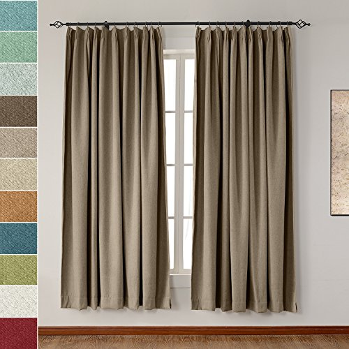 Pinch Pleated Drapery Panels (Extra Wide Heavyweight Luxury Faux Linen Curtain 120