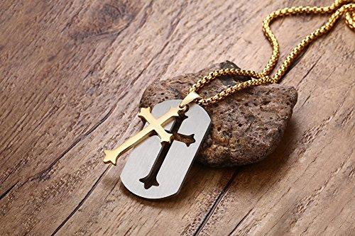 Lekima Bijoux Collier Pendentif Croix Dog Tag Plaque Punk Rock Chaîne Acier Inoxydable Fantaisie Homme Femme Cadeau