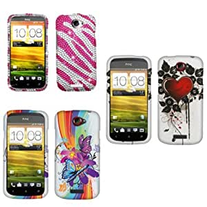 Fincibo (TM) HTC One S Ville Combo 3, Hard Snap On Protector Cover Case - Sacred Heart + Pink Zebra + Flower Butterfly